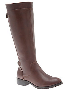 Riding boot with buckle detail