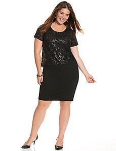 Sequin layered sheath dress