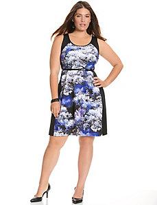 Print block A-line dress