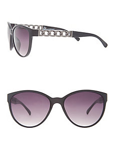 Cat eye sunglasses with chain detail