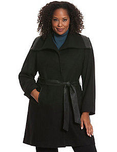 Faux wool coat with oversized collar