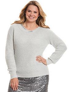 Embellished twist-neck sweater
