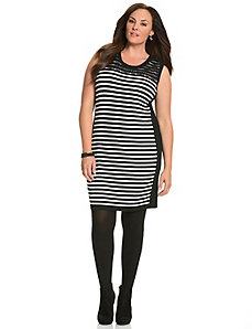 Lace shoulder striped sweater dress