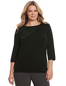 Lace applique sweater