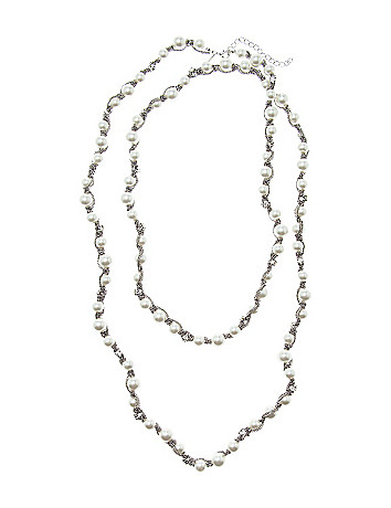 Chain wrapped faux pearl necklace by Lane Bryant
