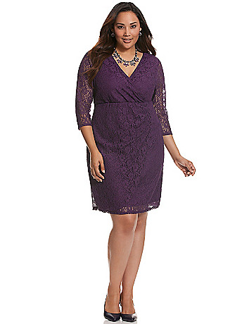 Lace faux wrap dress