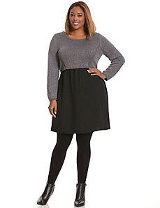 Metallic sweater top dress
