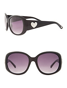 Heart embellished oversized sunglasses