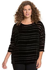 Velvet stripe sheer blouse