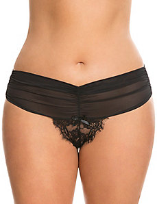 Draped mesh & lace thong panty