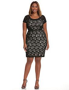 Cap sleeve lace illusion dress