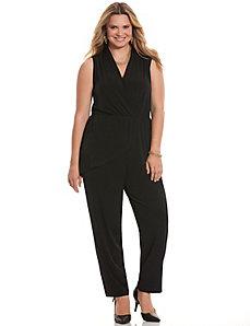 Simply Chic draped surplice jumpsuit