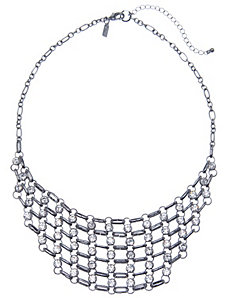 Stone & chain bib necklace
