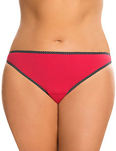 Sassy cotton thong panty with printed trim