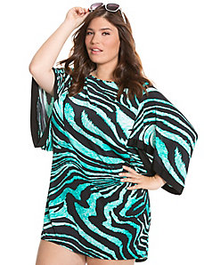 Zebra print kimono swim cover up