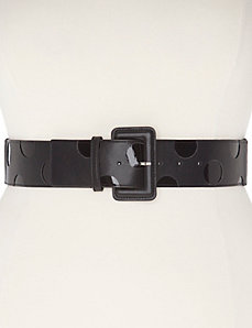 Patent polka dot stretch belt