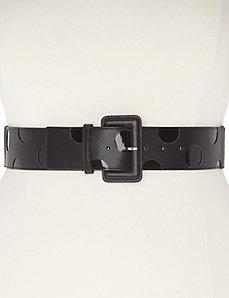 Patent polka dot stretch belt