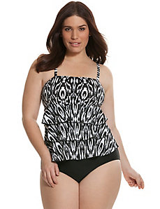 Tiered ruffle swim tank with no-wire bra