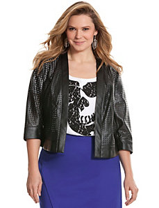 Cut-out faux leather jacket