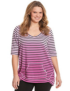 Ombre striped seamed top