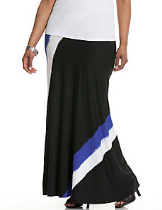 Diagonal brushstroke maxi skirt