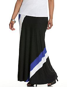 Diagonal brushstroke maxi skirt