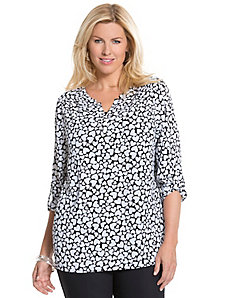 Heart print split back blouse