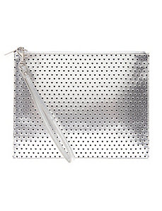 Perforated heart wristlet bag