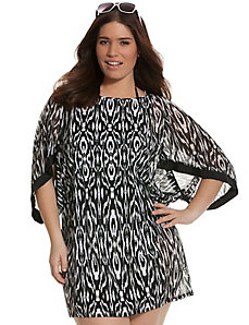 Ikat illusion kimono swim cover-up