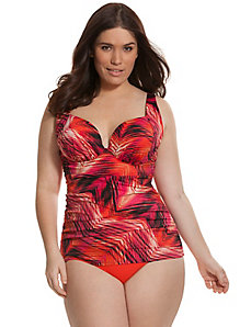 Printed swim tank with built-in plunge bra