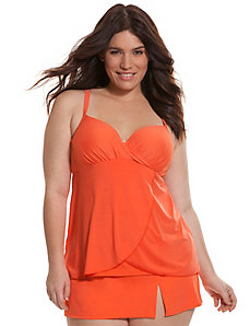 Draped swim tank with built-in balconette bra