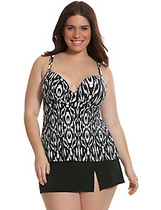 Ikat swim tank with built-in plunge bra