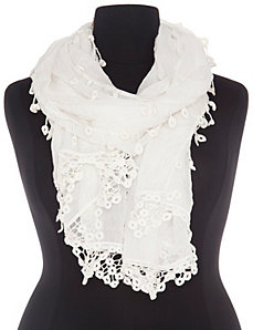 Crocheted trim scarf