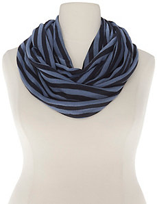Striped knit eternity scarf