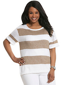Metallic striped short sleeve sweater