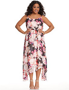 Floral maxi dress with asymmetric hem