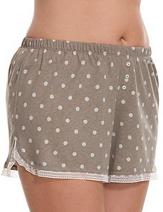 Dotted sleep short with lace trim