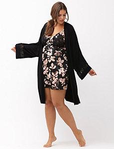 Lace back robe