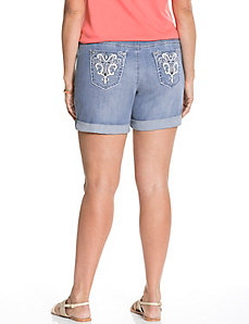 Embellished pocket denim short