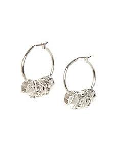 Hoop earrings with rondelle charms