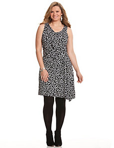 Heart print draped sheath dress