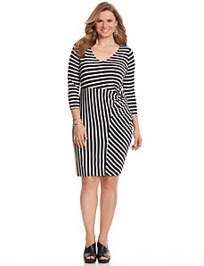Striped shirred knit dress
