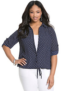 Polka dot drawstring blouse