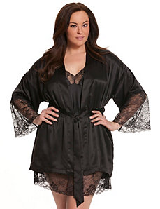 Charmeuse & lace wrap robe