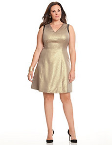 Gold shimmer ponte dress by DKNYC