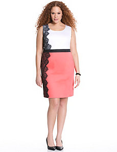 Placed lace colorblock sheath dress