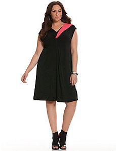 6th & Lane colorblock twisted V dress