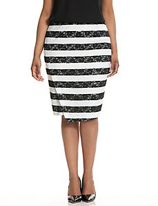Striped lace pencil skirt