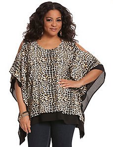 Animal print cold shoulder drama top