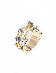 Stacked geo stone ring